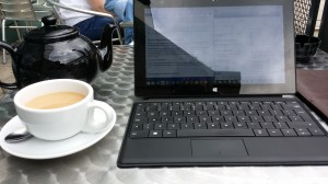 A recent pleasant working spot in Wimbledon before  going to an art exhibition with my sister...