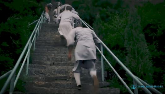 Shaolin training running up steps