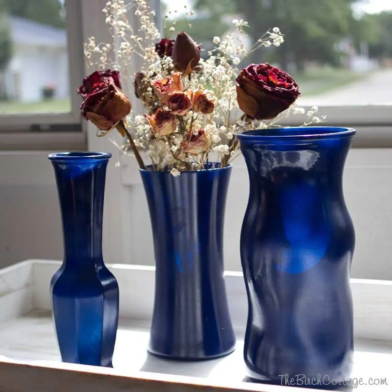 DIY Spray Painted Glass Vases  The Birch Cottage
