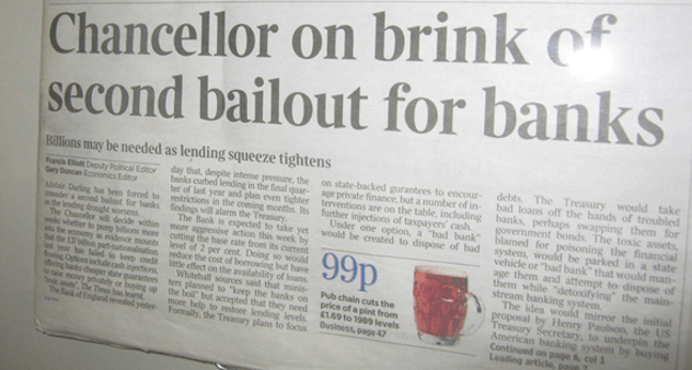 Chancellor on brink of second bailout for banks