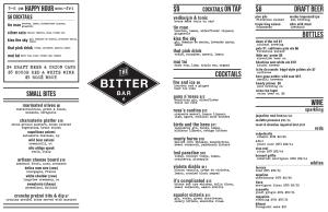 The Bitter Bar Menu
