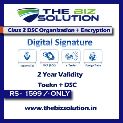 Class 2 dsc Individual with Organisation Name Encryption 2 Years sign