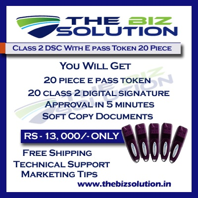 Bulk Digital Signature certificate with E pass token lowest price set of 20