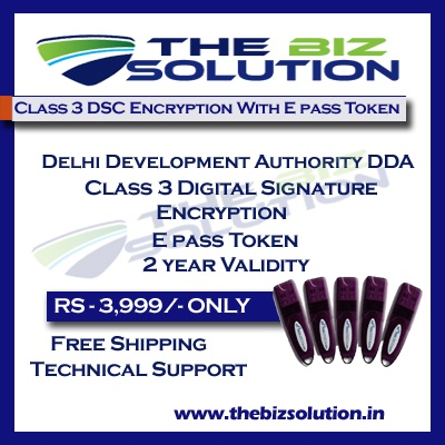 E tender of Delhi Development Authority DDA Class 3 Digital Signature