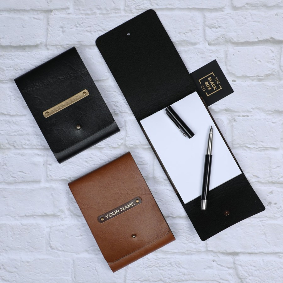personalised vegan leather notepad