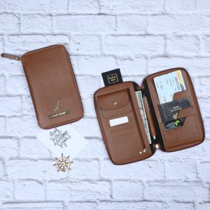 Personalised Zippered Travel Case in tan