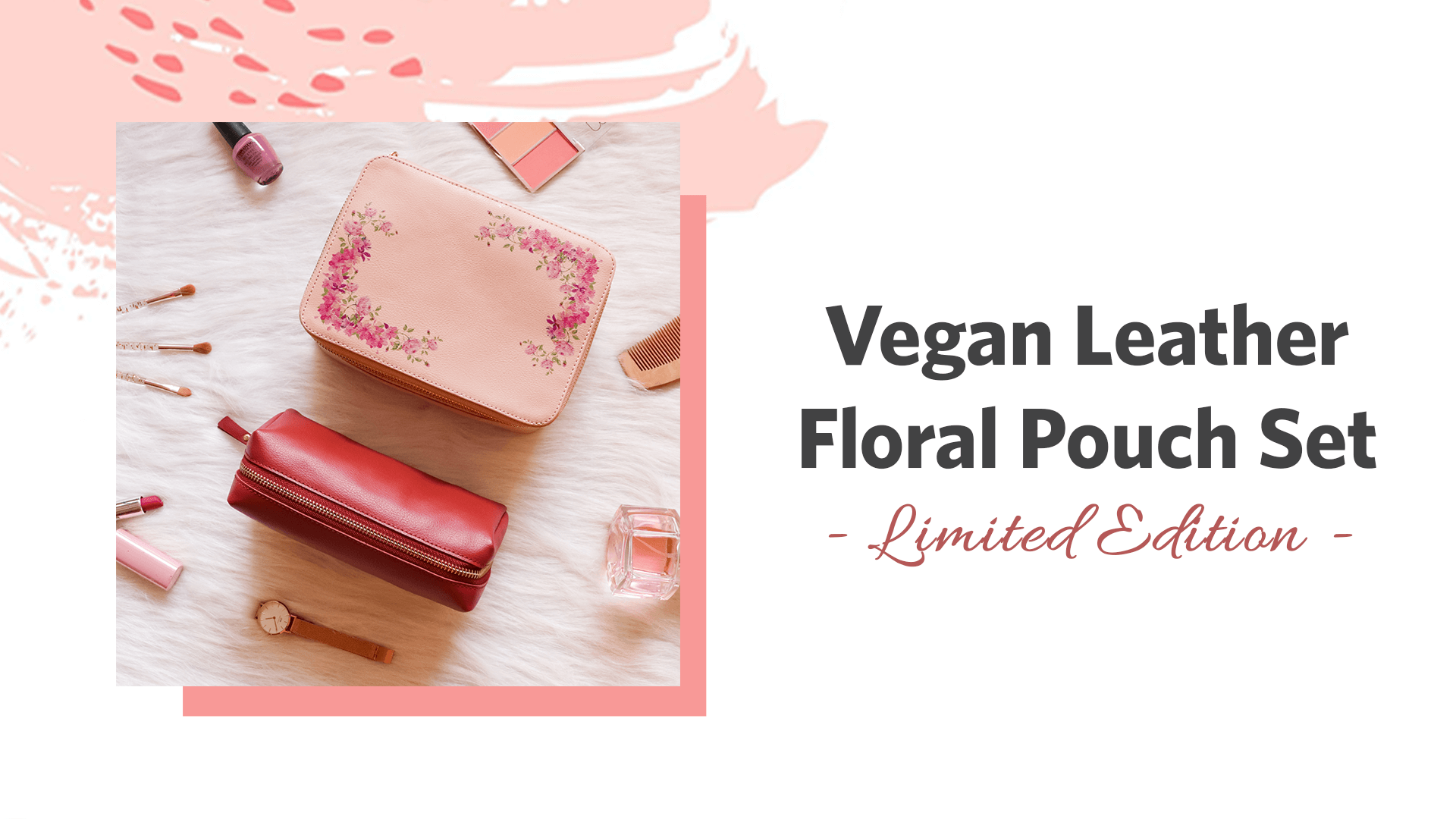 Vegan leather floral pouch set