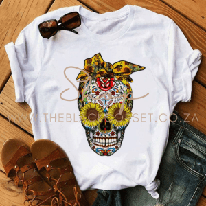 High Quality Clothes for Sales Online in South Africa Skull Queens Sunflower T-Shirt