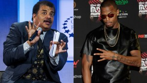 Astrophysicist Neil deGrasse Tyson (left) and rapper B.o.B.