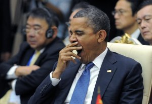US President Barack Obama yawns as he attends an East Asian Summit Plenary Session at the Peace Palace in Phnom Penh on November 20, 2012. During the two-day East Asia Summit, Obama was scheduled to hold talks with the leaders of the 10-member Association of Southeast Asian Nations (ASEAN) along with Chinese Premier Wen Jiabao and Japan's Premier Yoshihiko Noda. AFP PHOTO Jewel Samad (Photo credit should read JEWEL SAMAD/AFP/Getty Images)