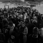 greyscale image of stranded London Underground passengers during August 2003 power failure
