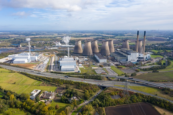 Aerial photo of the Ferrybridge Power Station located in the Castleford area of Wakefield in the UK, showing the power station cooling towers.