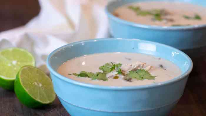 A traditional Thai soup with coconut milk, lime juice, chicken and other spices. Easy to make and tastes delicious!