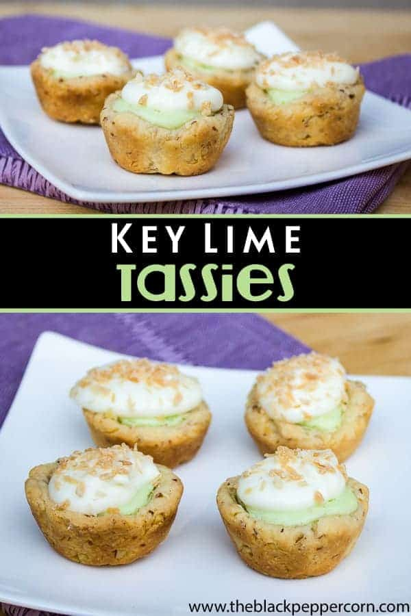 Key Lime mini tarts with coconut and almonds or macadamia nuts. Topped with whipped cream or meringue. Tastes just like key lime pie.