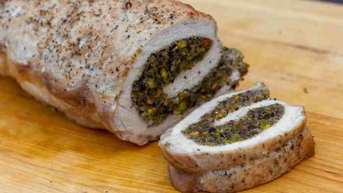 A butterflied boneless pork loin stuffed with duxelles type stuffing with sauteed mushrooms, shallots, pistachios, parmesan cheese and fresh oregano. How to instructions to butterfly a pork loin.