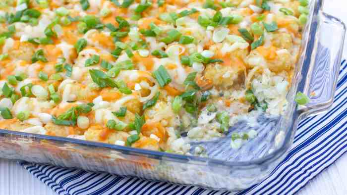 Creamy and cheesy chicken casserole with cream of mushroom soup, sour cream peas and tater tots and grated cheddar. Easy comfort food.