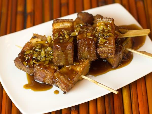 Deep Fried Pork Belly Skewers with Honey Garlic Glaze-8