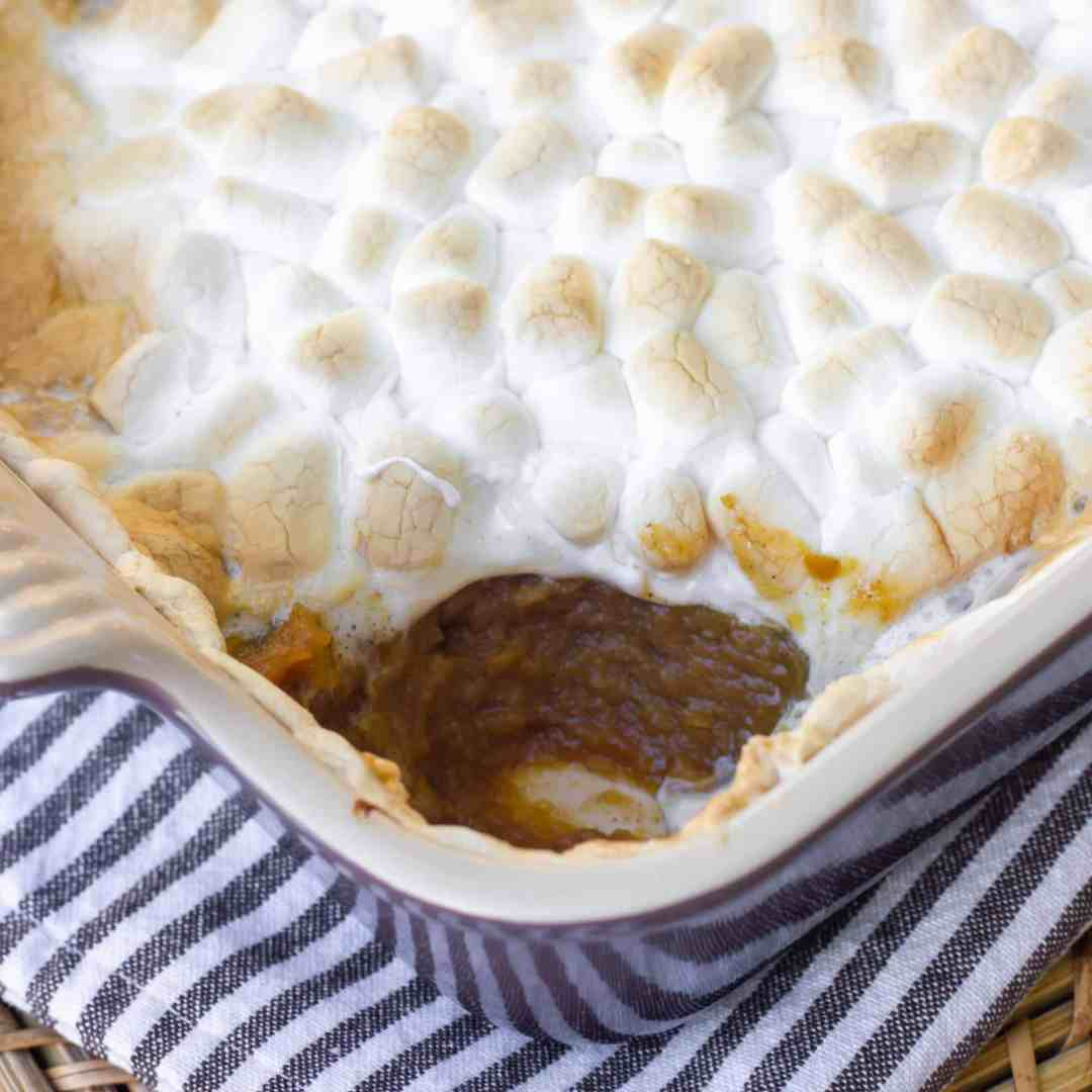 Close up image of pumpkin pie casserole with toasted marshmallows