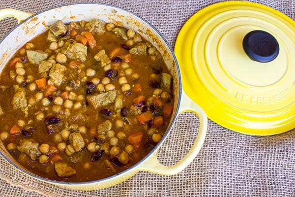 Moroccan Pork Stew with Chick Peas and Dried Cherries