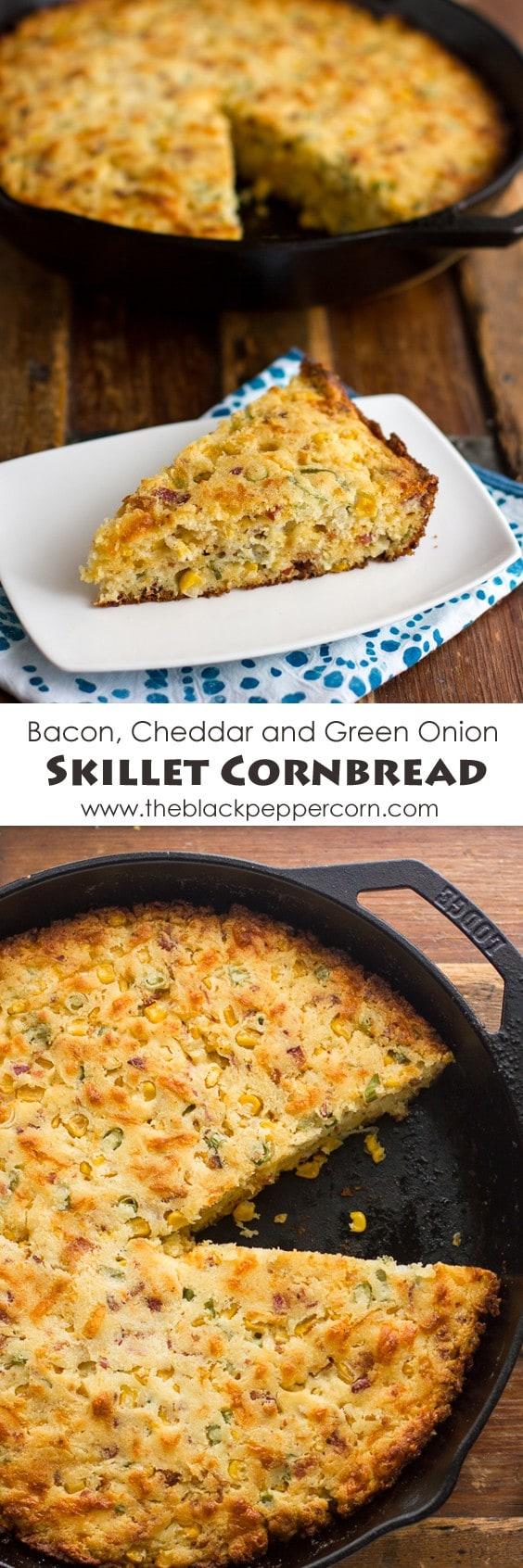 Bacon Cheddar and Green Onion Skillet Cornbread