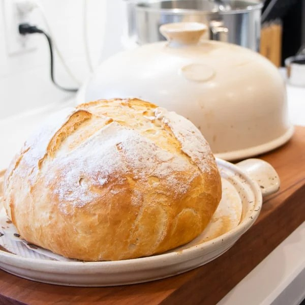 Simple to make rustic artisan bread recipe that can be baked in a clay bread cloche, dutch oven, or baking sheet.