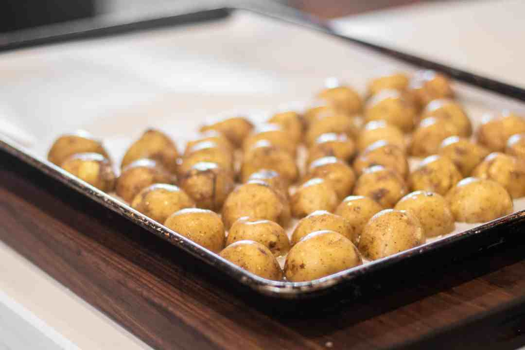Bake potato halves first