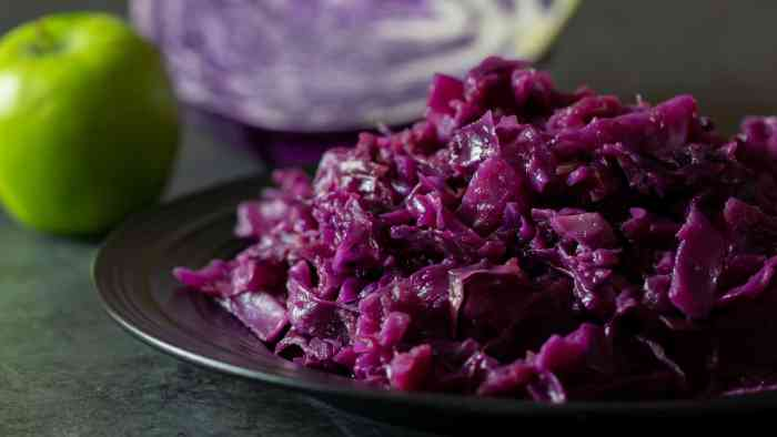 A finished photo of the red cabbage and apples that were braised in a dutch oven.