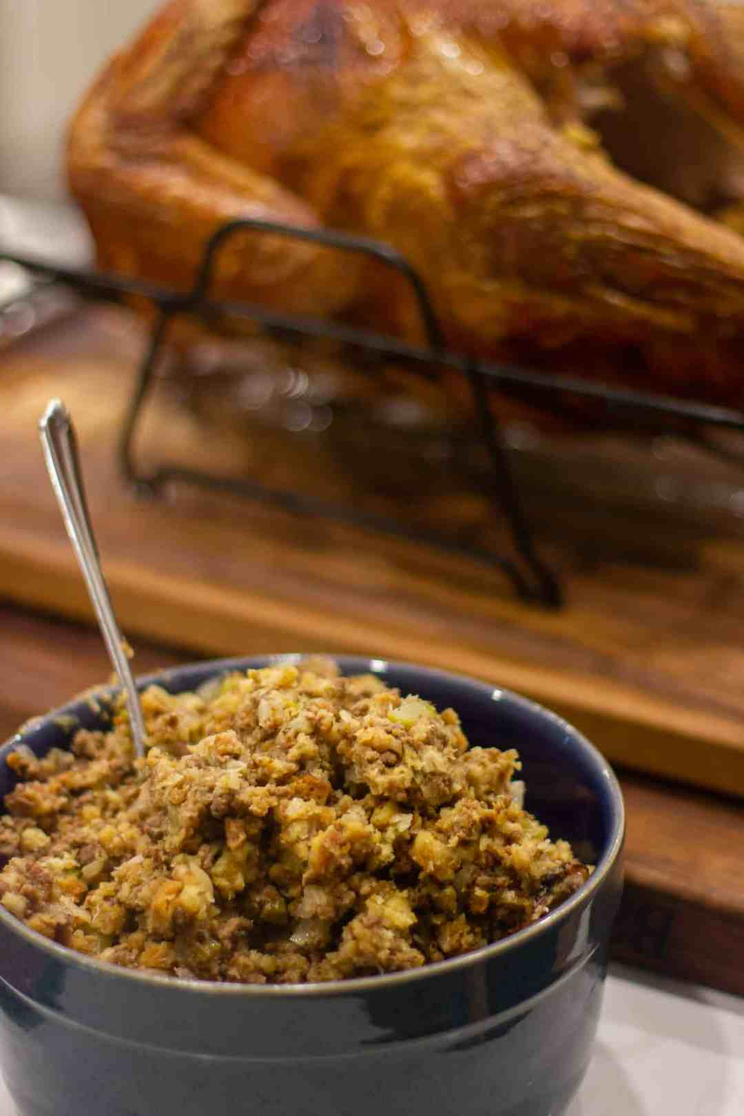 Turkey stuffing recipe made with ground beef, onion, celery and stuffing mix. The perfect stuffing for holiday dinners like christmas and thanksgiving.