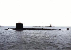 USS Trepang (SSN-674) entering Portsmouth Naval Shipyard, Kittery, Maine.