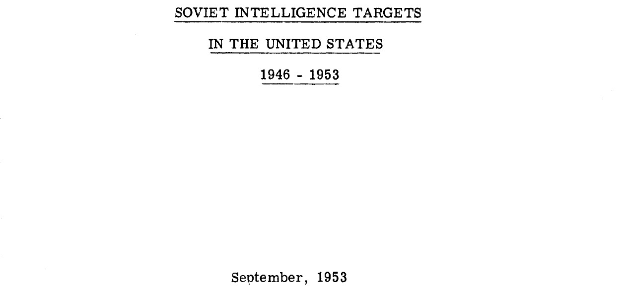 Soviet Intelligence Targets in the United States, 1946