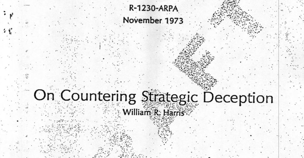 On Countering Strategic Deception, by William R. Harris