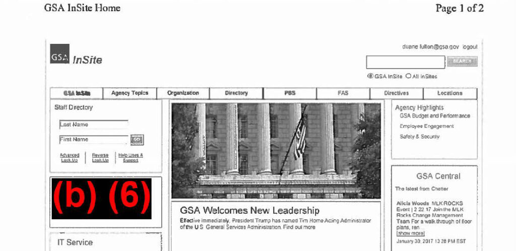 U.S. General Services Administration (GSA) Intranet INSITE