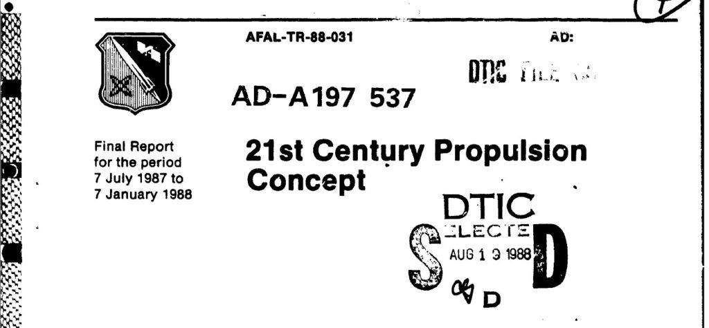 21st Century Propulsion Concept, April 1988 (Veritay