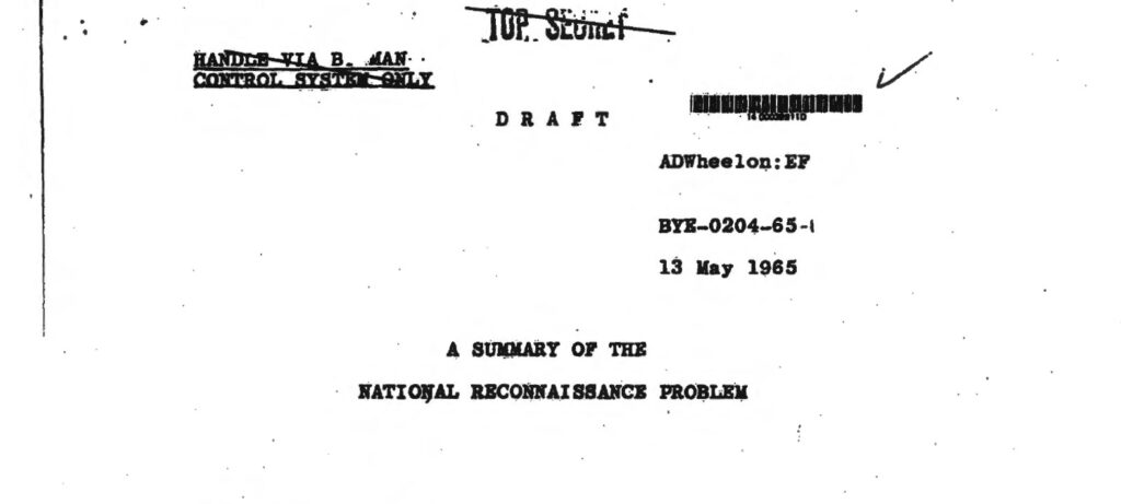 A summary of the National Reconnaissance Problem, 13 May