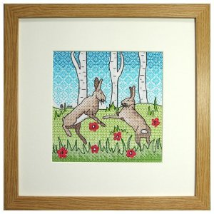 Boxing Hares Blackwork Embroidery Kit