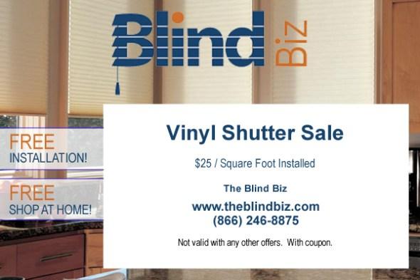Vinyl Shutter Sale $25 / Square Foot Installed