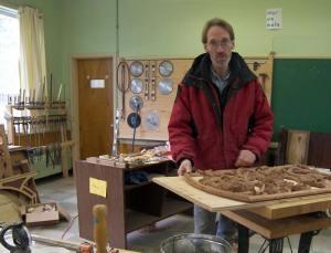 Carpenter Lloyd Klassen in his workshop