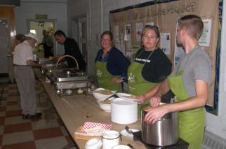 Some of the cooks and helpers. Matthew Krizan, Cindy Bradette, Melissa Velden, Peter Hardy