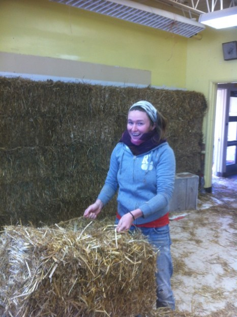 Building the straw bale wall