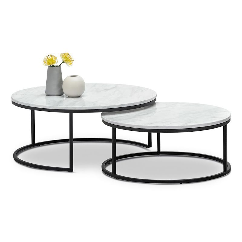khloe white marble round nest coffee table black