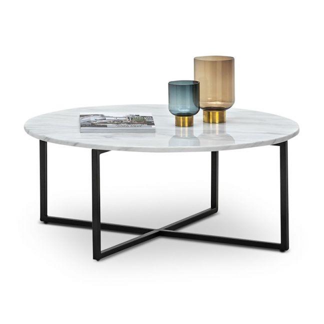 ellie marble round coffee table white black