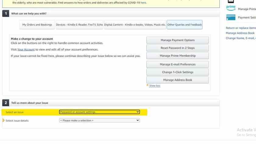 amazon password and account settings