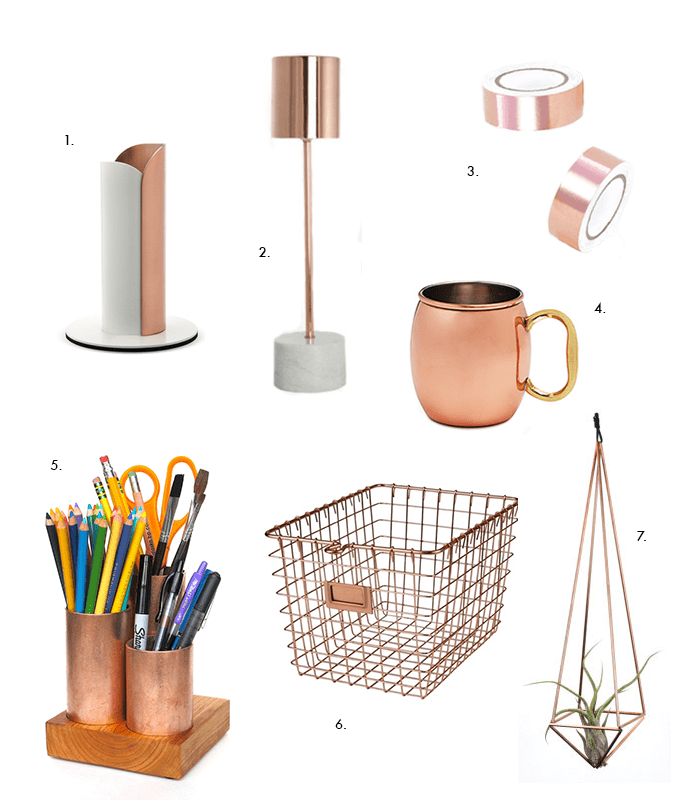 Creative home office ideas  copper desk accessories