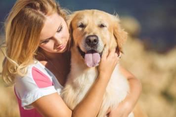 happy dog being hugged