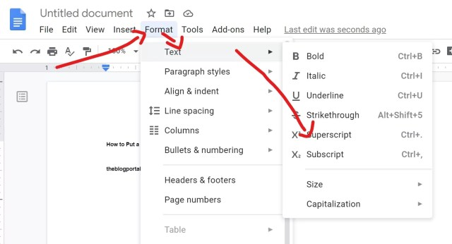 How to Put a Superscript or Subscript in Google Doc - TheBlogPortal