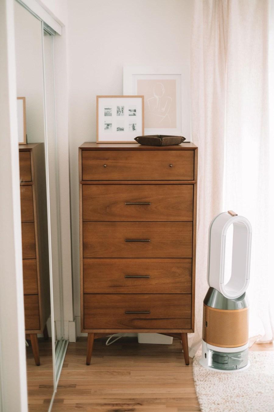 cozy boho modern main master bedroom oak mahogany dresser
