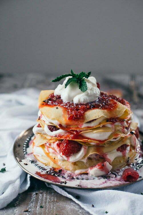 Raspberry Crépe Cake