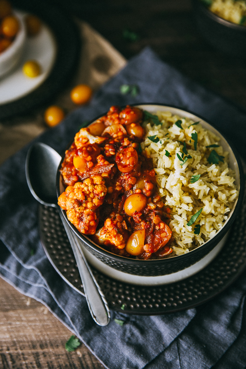 Lentil, Cauliflower & Harissa Bowl With Cilantro Basmati Rice