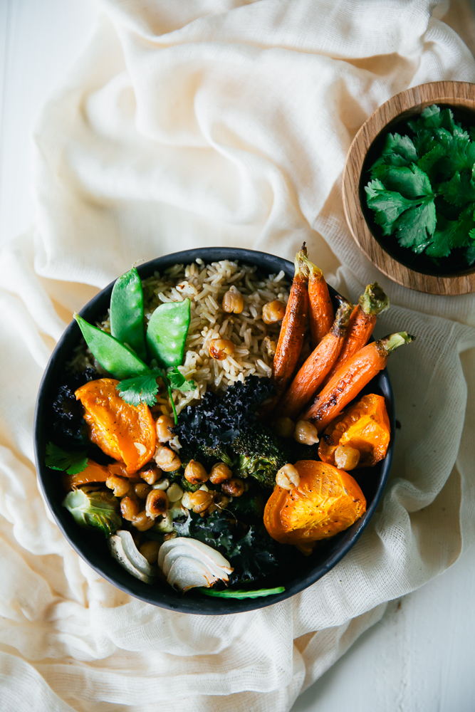 Roasted Veggie Rice Bowl With Lemon Garlic Tahini Sauce