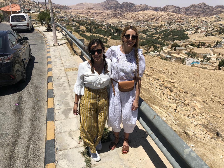 Two women visiting Jordan.